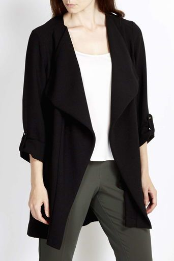 Black Waterfall Collar Jacket