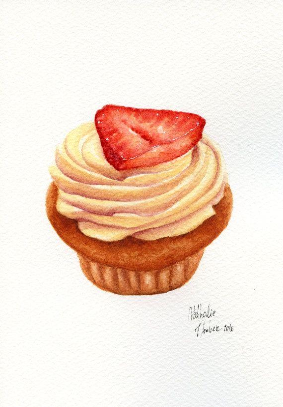 Strawberry Cupcake  ORIGINAL Painting Dessert от ForestArtStudio