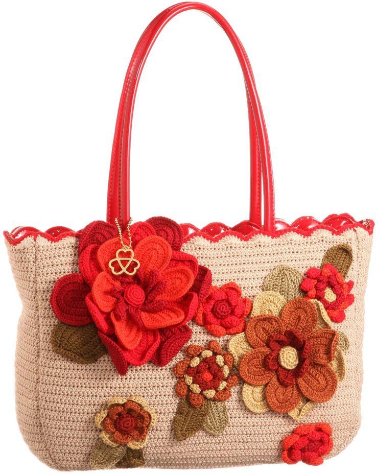 Che Che New York crochet flower motif purse  *** wat daarvan:  jy versier jou gehekelde sak met blomme van vilt of lap??