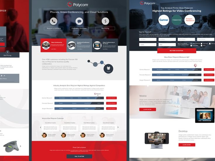 Set of 3 paid search landing pages in their approved state to be shown to the client.