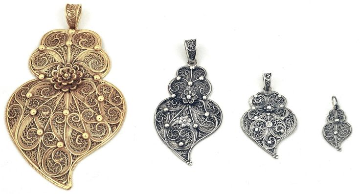 Heart of Viana | The Portuguese traditional jewelery has a distinctly religious inspiration, and the heart of Viana is no exception. This heart that is currently used as a symbol of the city of Viana do Castelo, Portugal, arose with the increasing devotion to the Sacred Heart of Jesus at the end of  the 18th c. (click image for higher detail)