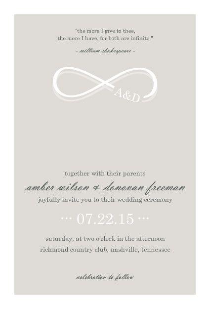 Easily Customize This Infinity Monogram Champagne Wedding Invitation Design Using The Online Editor All Of Our Invitations Templates Are
