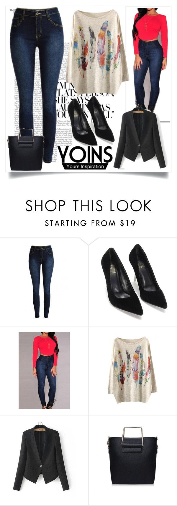 """JEANS  Yoins"" by mamiigou ❤ liked on Polyvore featuring yoins"