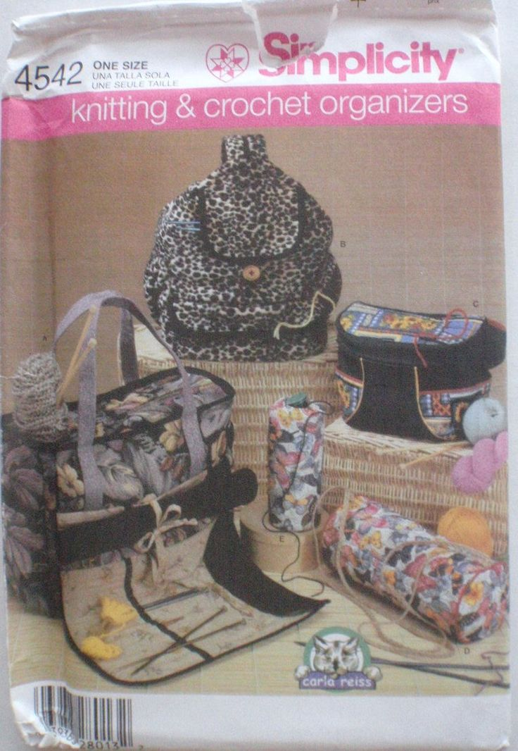 Knitting and Crochet Organizers Sewing Pattern By Carla Reiss - Tote, Backpack, Fanny Pack, Yarn Caddy - Simplicity 4542 - Uncut by Shelleyville on Etsy