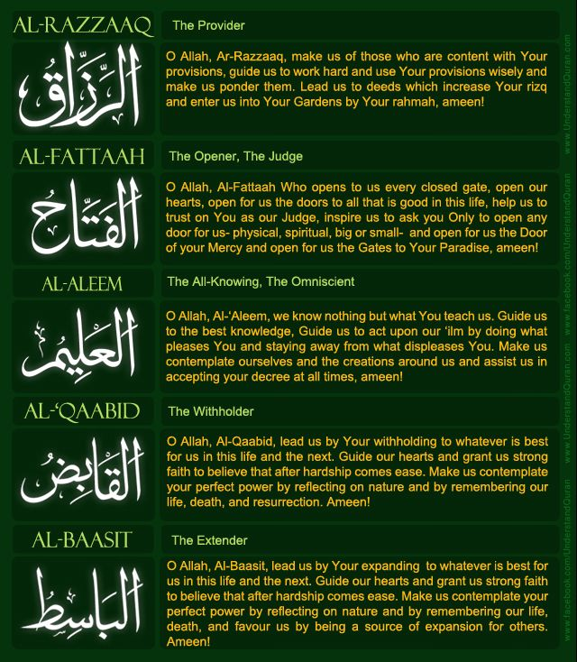 namesanswers2 Names of Allah (swt) 12 22 Quiz Answers
