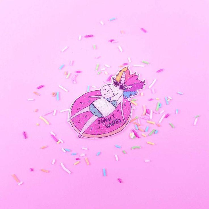 Do nut worry - unicorn in donut floatie brooch pin