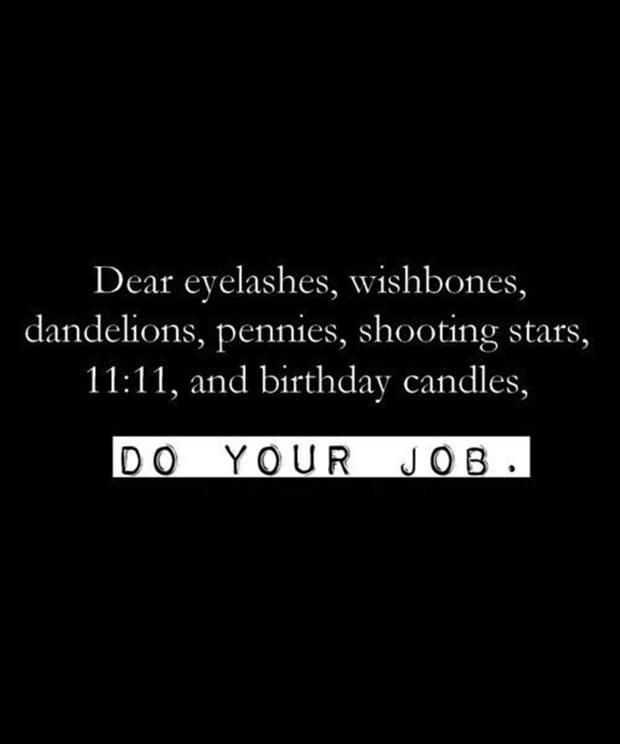 Dearest eyelashes, wishbones, dandelions, pennies, shooting stars, 11:11, and birthday candles, DO YOUR JOB.