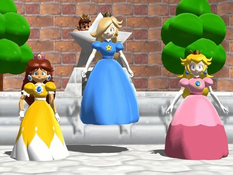 The 3 Mario Princesses in the old style