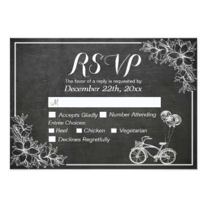 #Gold Script Chalkboard Floral Wedding RSVP Reply Card - #weddinginvitations #wedding #invitations #party #card #cards #invitation #elegant