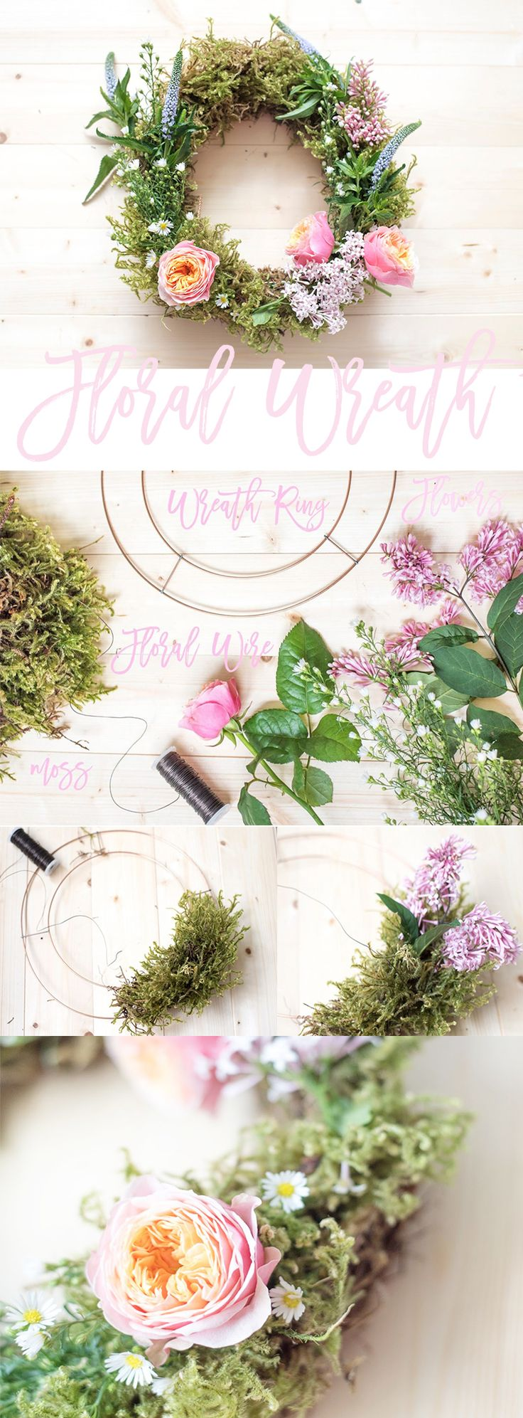 The easiest, simplest way to make a pretty floral wreath to fragrance your home, and bring a little bit of the outdoors indoors!  Costs a fraction of what it would from the florists!