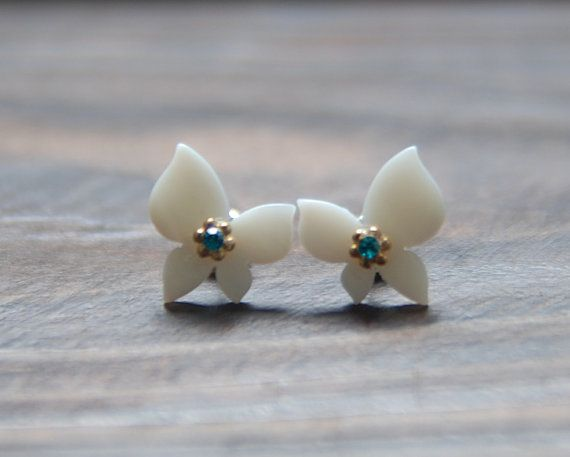 White butterfly earring. cubic post earring. cute by bijouroom, $9.00