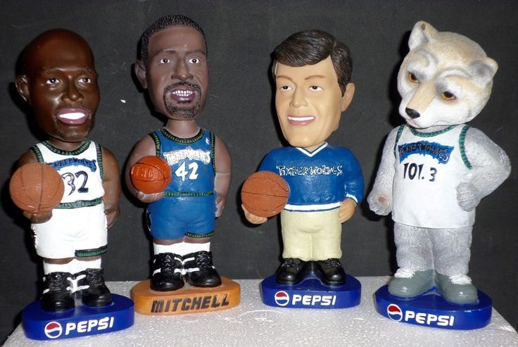 Set of 4 Timberwolves Bobbleheads Smith #32 Mitchell #42 Flip Saunders & CRUNCH #BobbleDobbles #MinnesotaTimberwolves