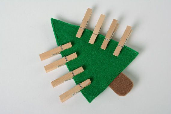 Handmade educational toy sewn of felt Fir Tree with clothes pins for children