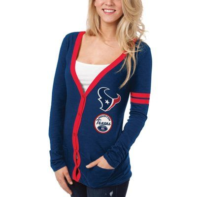 Houston Texans Ladies Slub Button-Up Long Sleeve Cardigan - Navy Blue