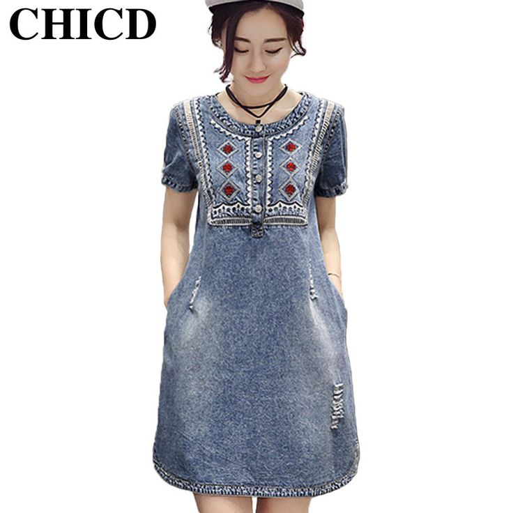 Summer Women Sundress Retro Vintage Embroidery Soft Jeans Denim Dress O-Neck