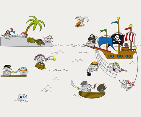 Vinilos Take Away Piratas - Wit Lab