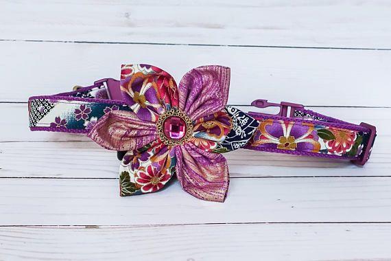 Flower dog collar Girl dog collar purple dog collar small