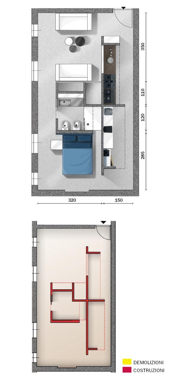 Progetto Appartamento 50 Mq mansarda di 50 mq, declinata al maschile | progetto di