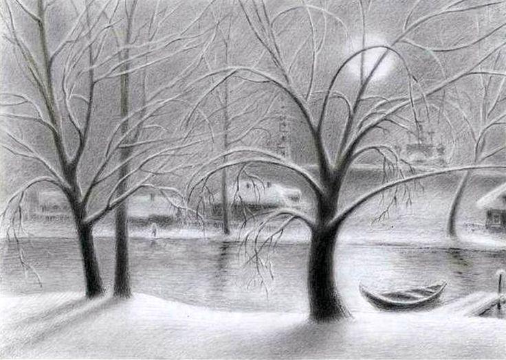 зимние картинки для карандашом оформленное подобном духе