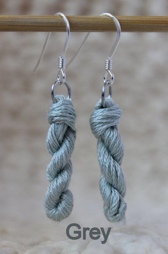 Mini Yarn Skein Silver Earrings Multiple by ChaleurHandDyedYarn