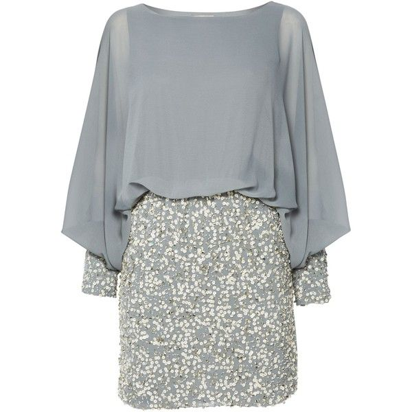 Lace and Beads Long Sleeved Blouson Top Sequin Skirt Dress ($110) ❤ liked on Polyvore featuring dresses, cocktail, grey, women, cocktail dresses, grey lace dress, holiday cocktail dresses, lace dress and long sleeve evening dresses