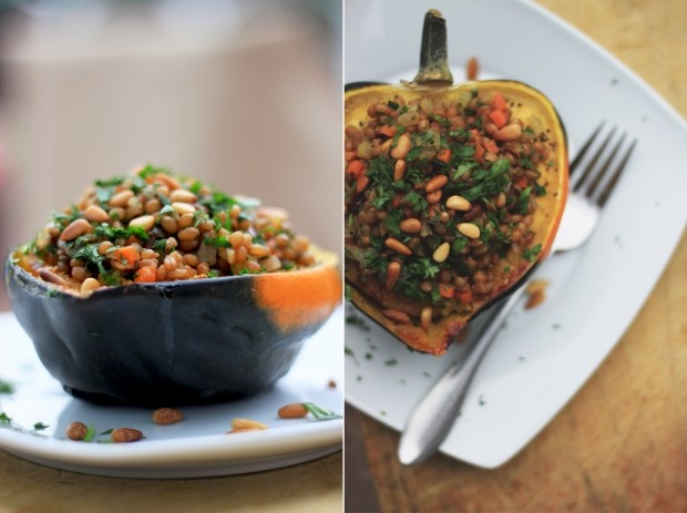 Stuffed Acorn Squash. I made these with brown rice instead of wheat ...