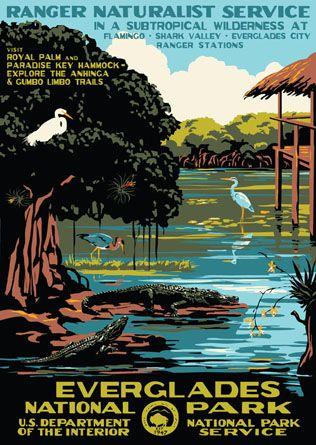 I miss Florida. Loving this retro-tastic Everglades poster.