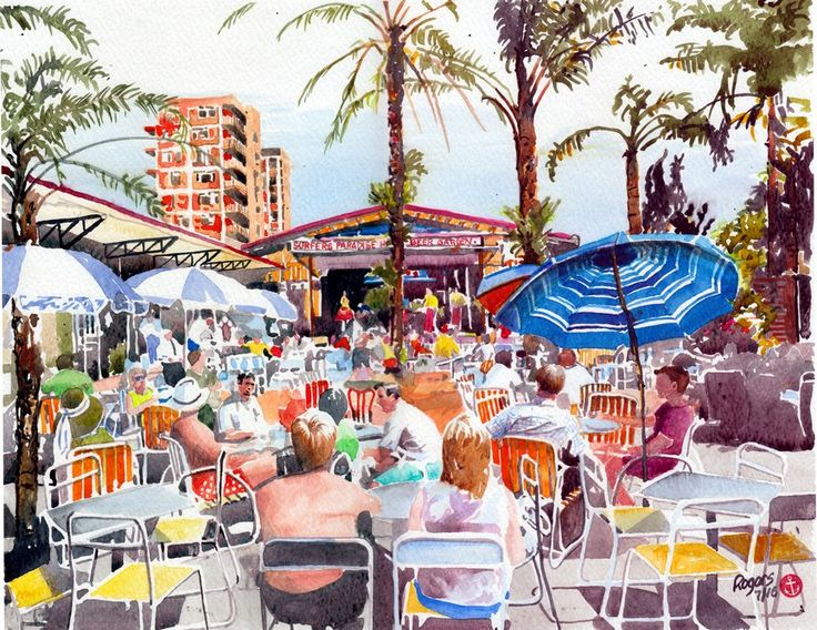 Surfers Paradise Hotel Beer Garden, Gold Coast Australia in the early 1960s.(Artist:  Kevin Rogers)