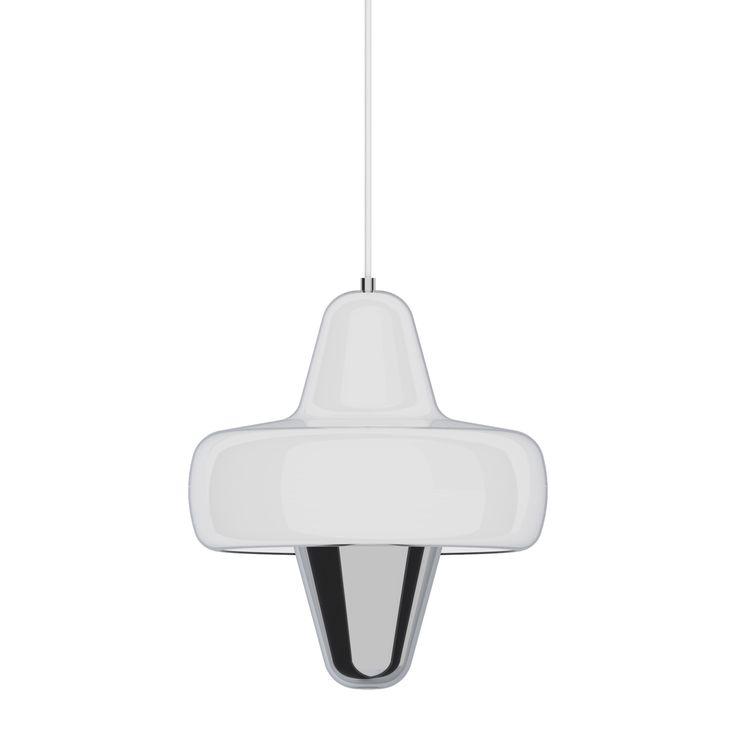 SWAN - Lampa wisząca dmuchane szkło Chrom/Biały La Chance