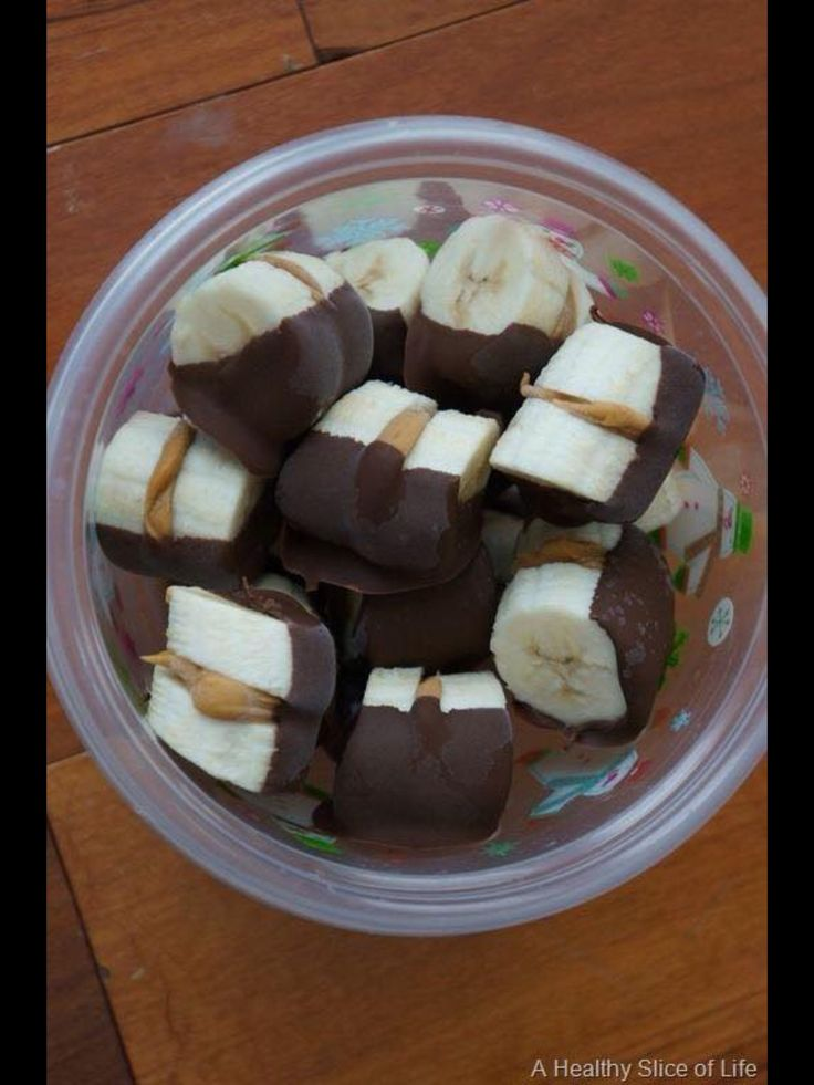 Banana and peanut butter sandwich covered in chocolate. Great snack.