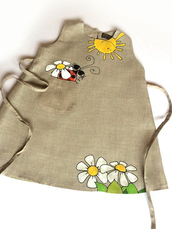 Natural grey linen baby girl tunic dress. Country flower wedding outfit. Hand painted