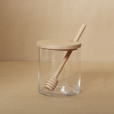 Glass + Wood Honey Pot