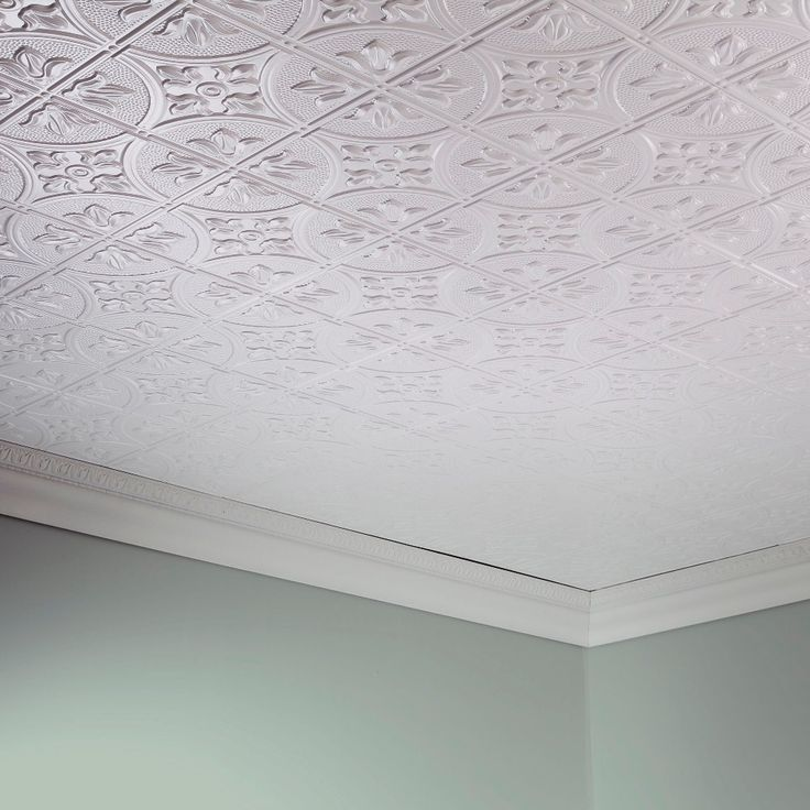 Fasade Traditional 2 4 ft. x 2 ft. Glue-Up Ceiling Tile in Matte White