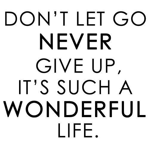 Don't let go. Never give up, it's such a wonderful life. (Wonderful life - Hurts)