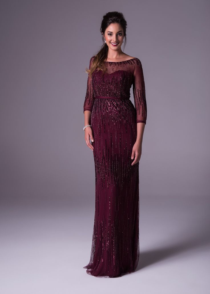This slimming A-line fully beaded burgundy gown is classic with it's sweetheart mesh neckline and sleeves. Viola Chan available exclusively to Bride&co: http://www.brideandco.co.za/product/new-collection/ch19719/