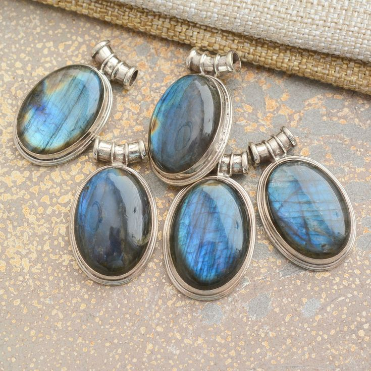 Labradorite Pendant, Blue Labradorite Cabochon, Nepal Gemstone Pendant, Sterling Silver, Labradorite Jewelry, 4mm Curved Tube Bail, One, BID by WanderlustWorldArts on Etsy