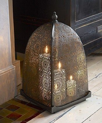Aged brass Moroccan candle holder. Very nice finish.