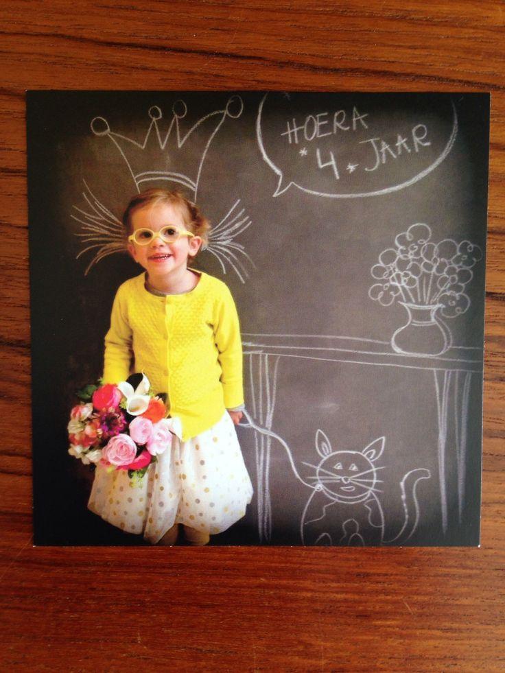 Verjaardagskaartje # uitnodiging # meisje 4 jaar