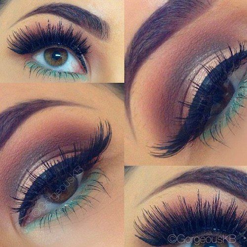 pinterest.com/xMimirella/ Beautiful Make up, Eyes, green eyeliner, black eyelinder, brown / gold eyeshadow
