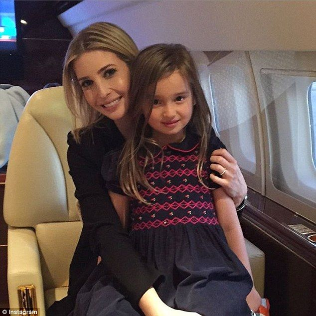 Flying high: Pregnant Ivanka Trump, 34, shared an Instagram photo on Sunday which sees her daughter Arabella, four, sitting on her mom's lap on a private jet