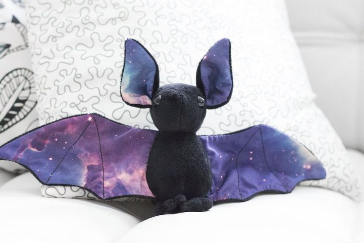 Black Galaxy Bat Stuffed Animal - Available from www.BeeZeeArt.com