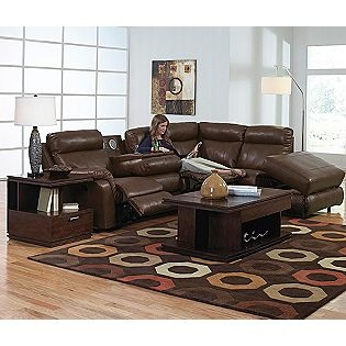 catnapper chastain bonded leather sectional with storage chaise two recliners and hershey