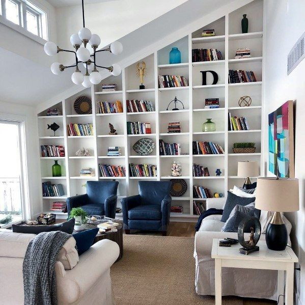 Top 60 Best Built In Bookcase Ideas Interior Bookshelf Designs Bookshelves In Living Room Built In Bookcase Cathedral Ceiling Living Room