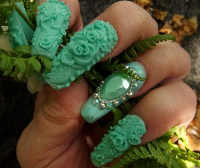 Minted  3 D acrylic nails ....click the photo to waych a video on how I did these ...the SUBSCRIBE !