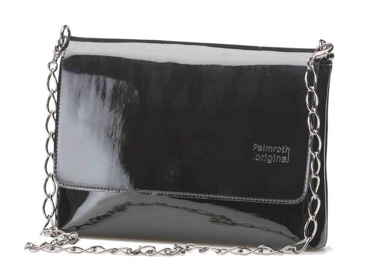 Palmroth little bag black patent with metal chain
