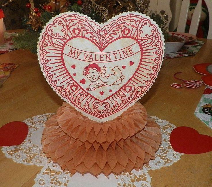 vintage valentine honeycomb tissue my valentine decoration wcupid - Vintage Valentine Decorations