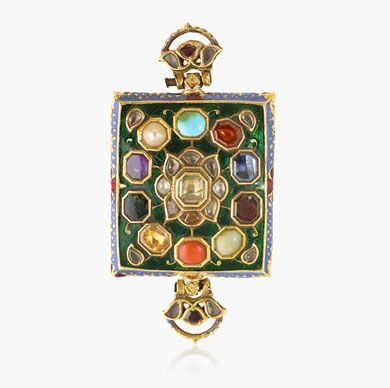 BAZUBAND  11 Gemstones. The armband of rectangular form with hinged attachments on either side. Centring upon a flowerhead diamond surrounded by diamond petals on a green enamel ground and a thin blue enamel border.