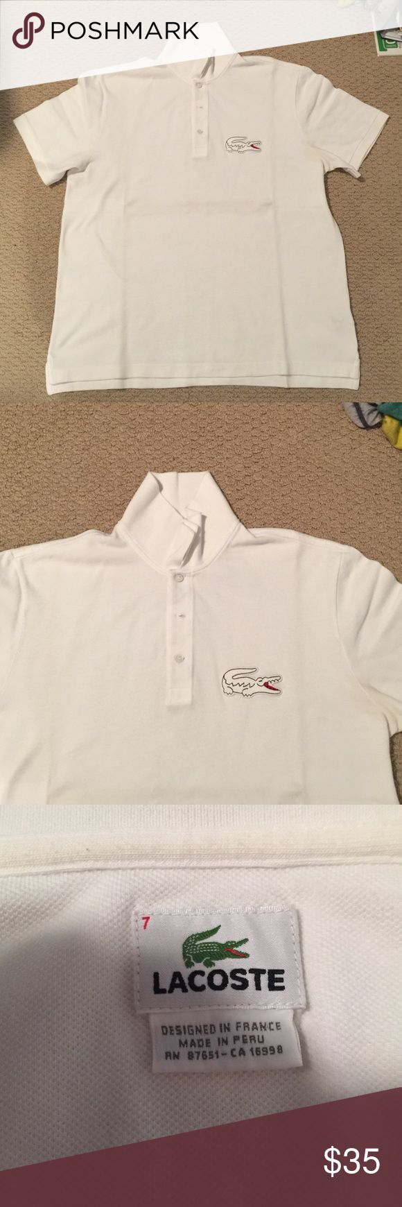 MENS White Lacoste Polo Shirt, Size 7 (XL) Like-new, white Lacoste short sleeve polo shirt with 3 buttons on the top and large white alligator polo. Worn only a few times. Purchased under 2 year ago at Bloomingdales m. Size 7, which is an XL. Enjoy it!!! Purchase 2 or more items of mine and receive 15% off! Lacoste Shirts Polos