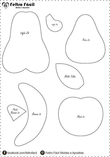 Feltro Fácil Moldes e Apostilas: Molde de Frutinhas
