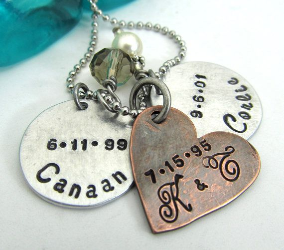 Personalized Mother's Necklace - Hand Stamped Jewelry - Mixed Metal Necklace - Mom Necklace - Personalized Necklace - Family Necklace (100) on Etsy, $26.00
